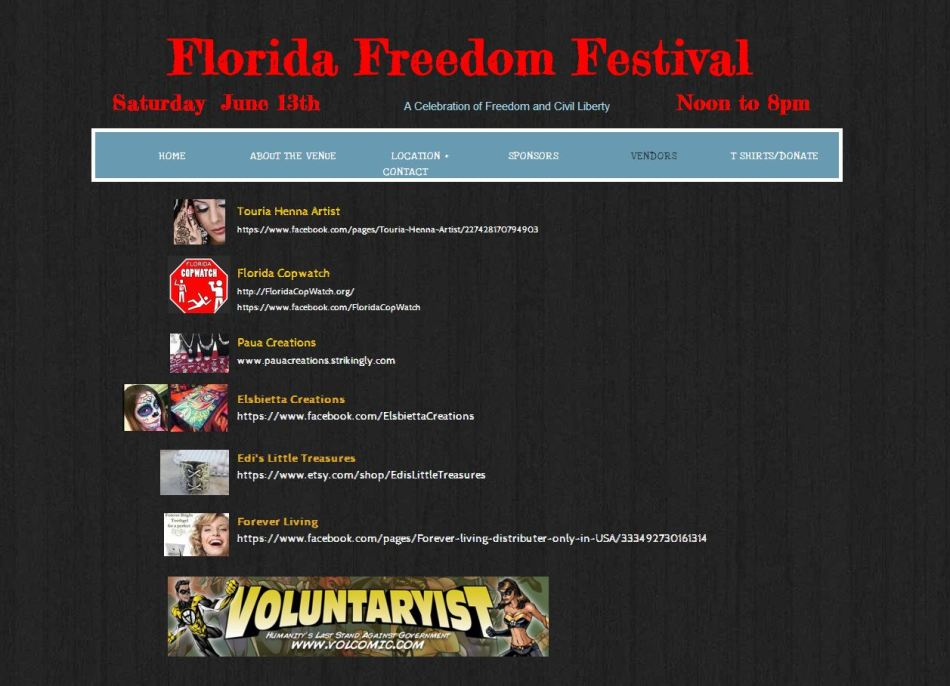 Florida Freedom Festival Vendors Listed